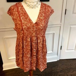 Anthropologie Vanessa Virginia Rust Floral Blouse